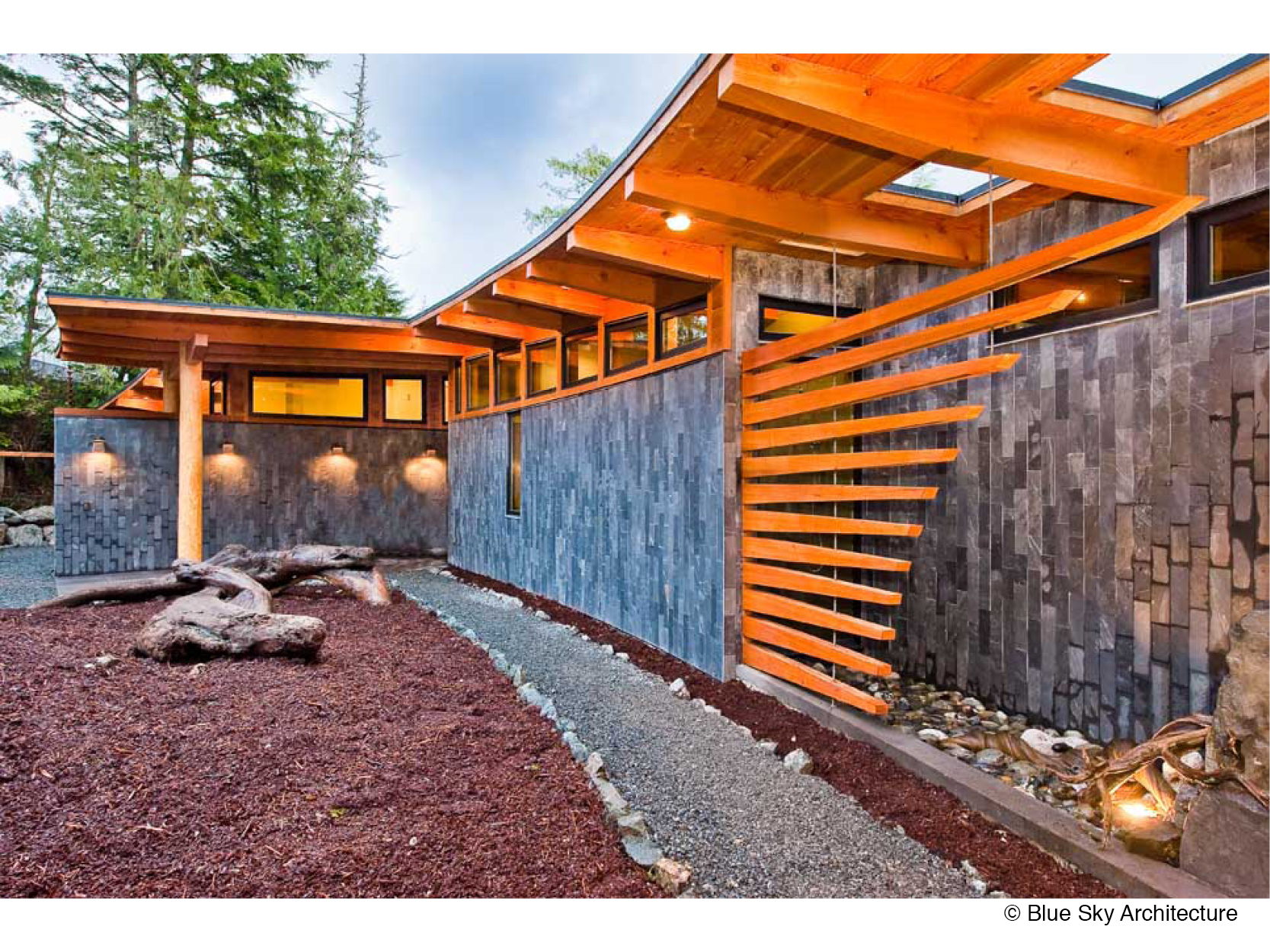 Exterior of a West Coast Modern, forest residence