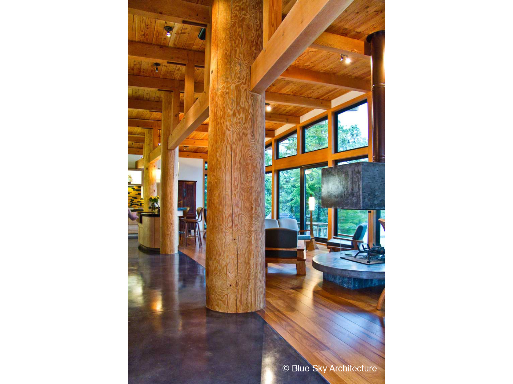 Natural log column in the Ucluelet House living room