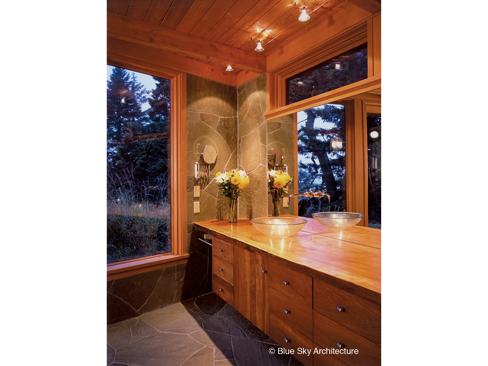 Sandstone tile and wood counter bath in Hill House