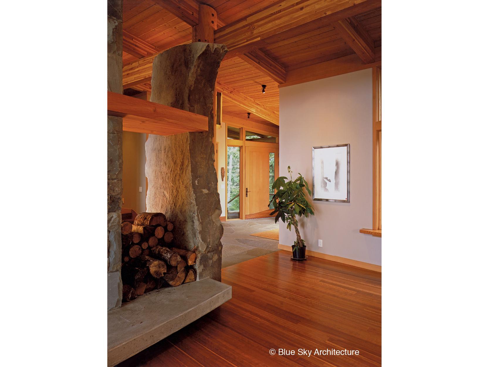 Sandstone column in Hill House living room