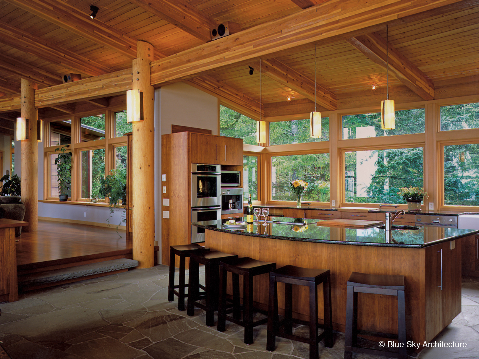 Post and beam framed kitchen in Hill House