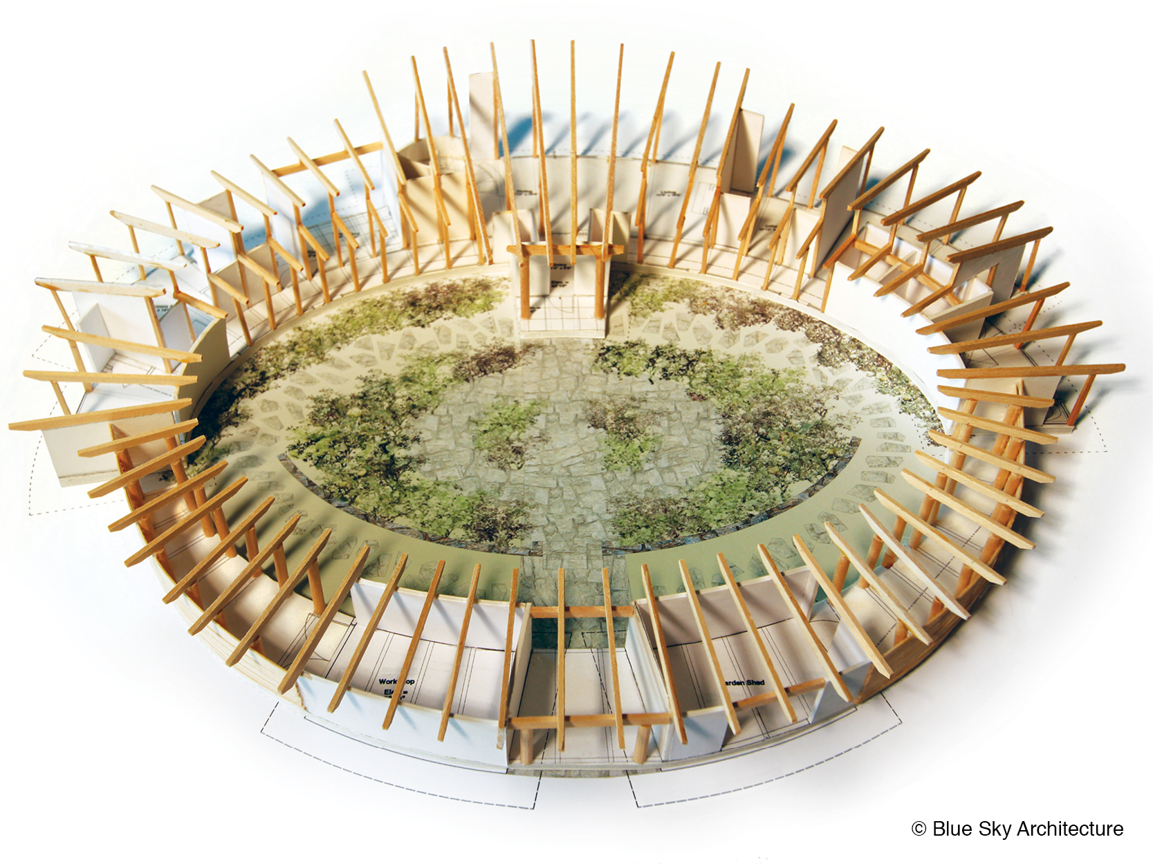 Architectural model view of the circular Booklovers House