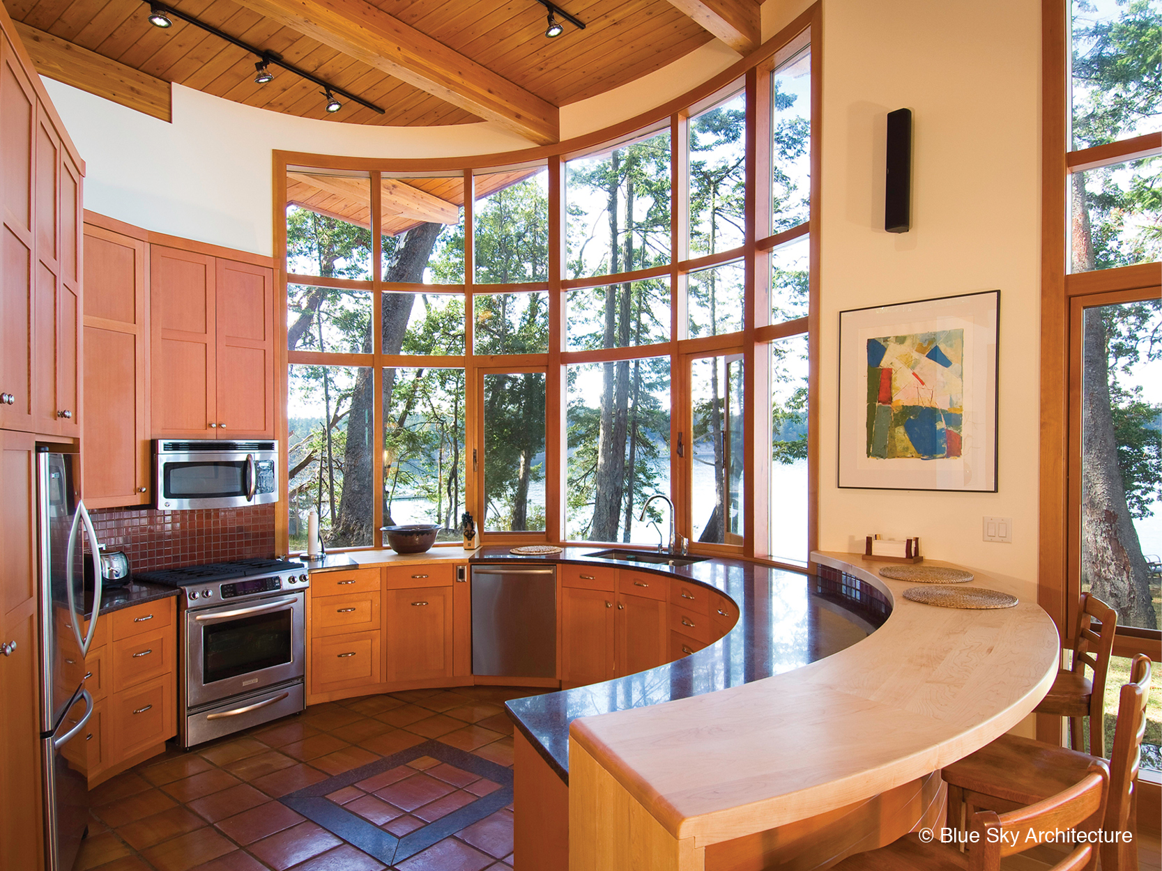 Circular countertops in the Booklovers House kitchen