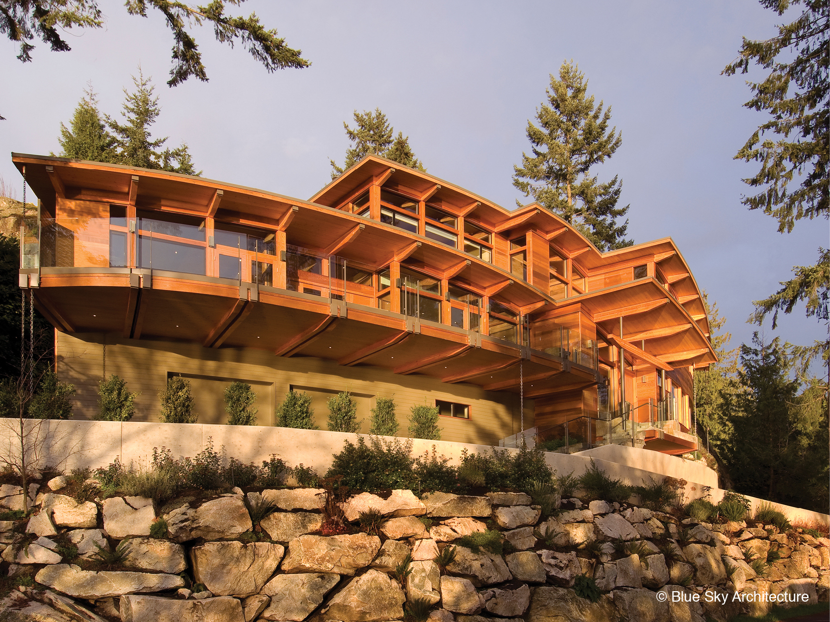 Heavy timber modern architecture exterior of Harbour House