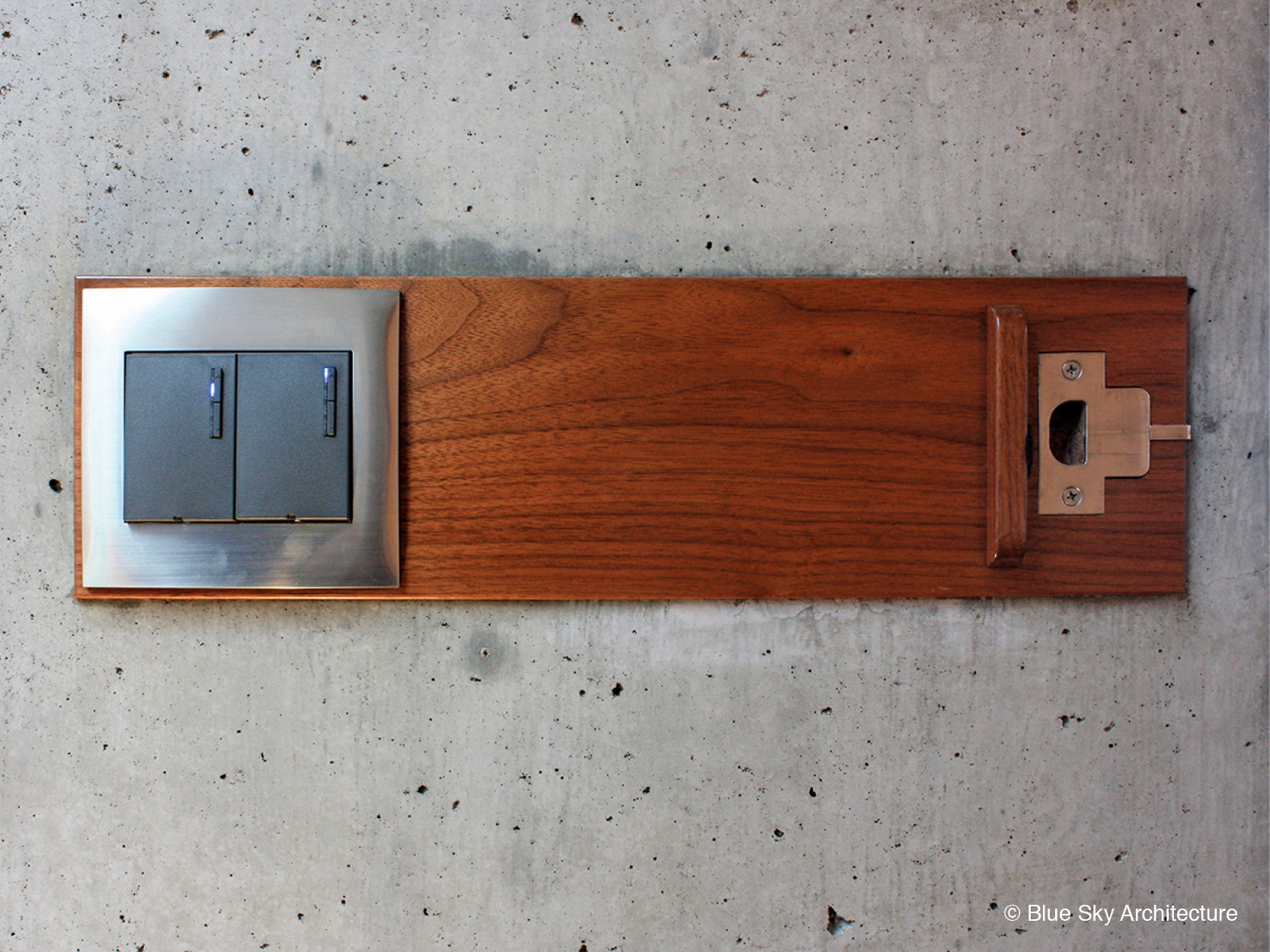 Wood detailing on door latch and light switch
