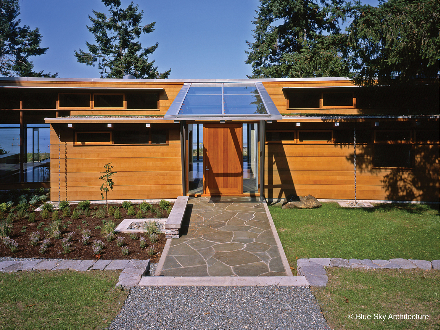 Exterior of the organic architecture of Miracle Beach house