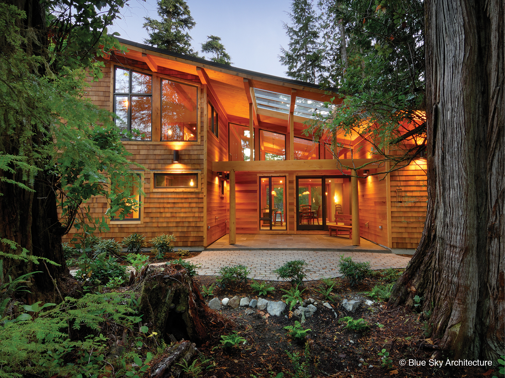 Angled roof and exterior view of the Rainforest House