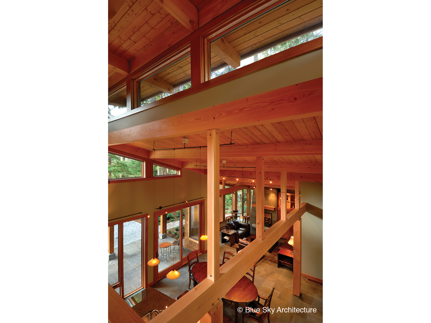 Heavy timber framing and skylight of Rainforest House
