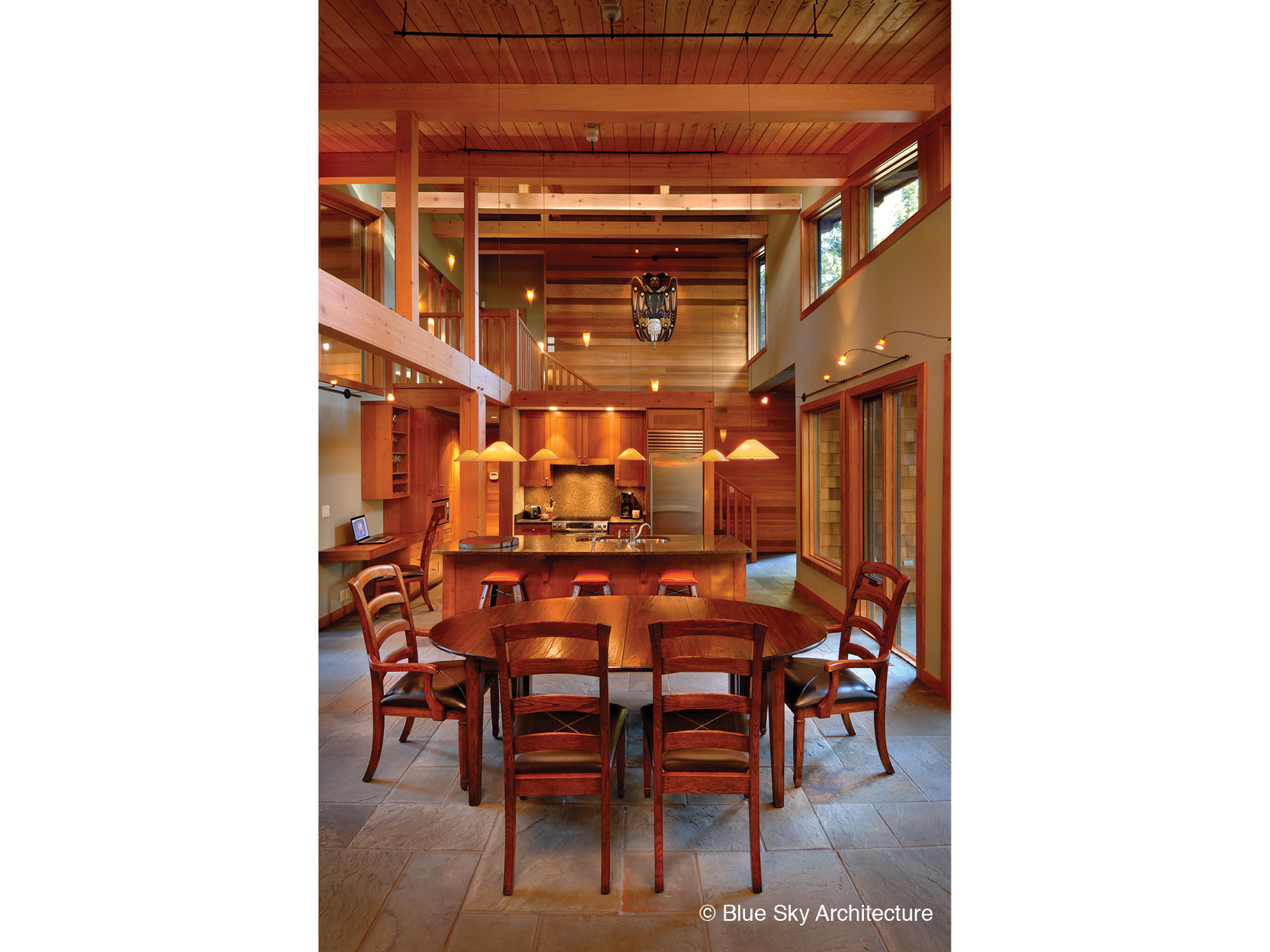 Post and beam framing and ceiling of the dining room in Rainforest House