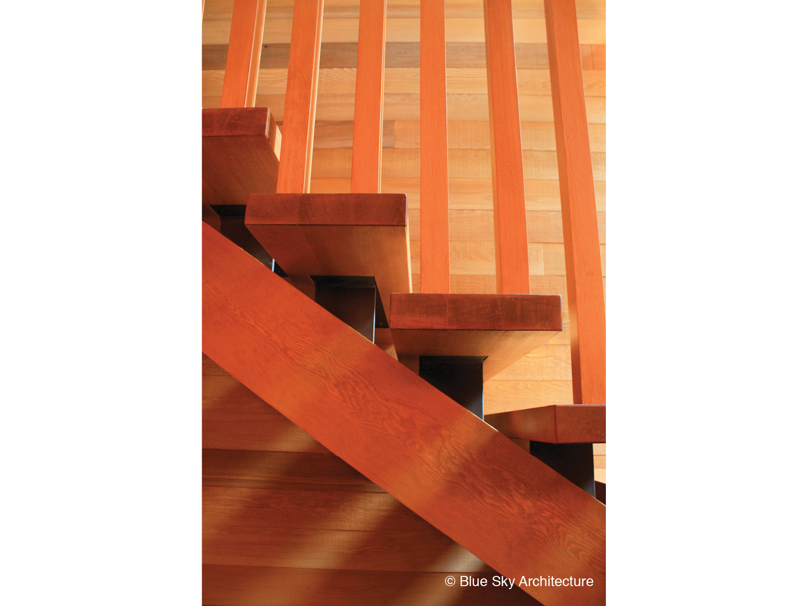 Wood detailing of the staircase in Rainforest House