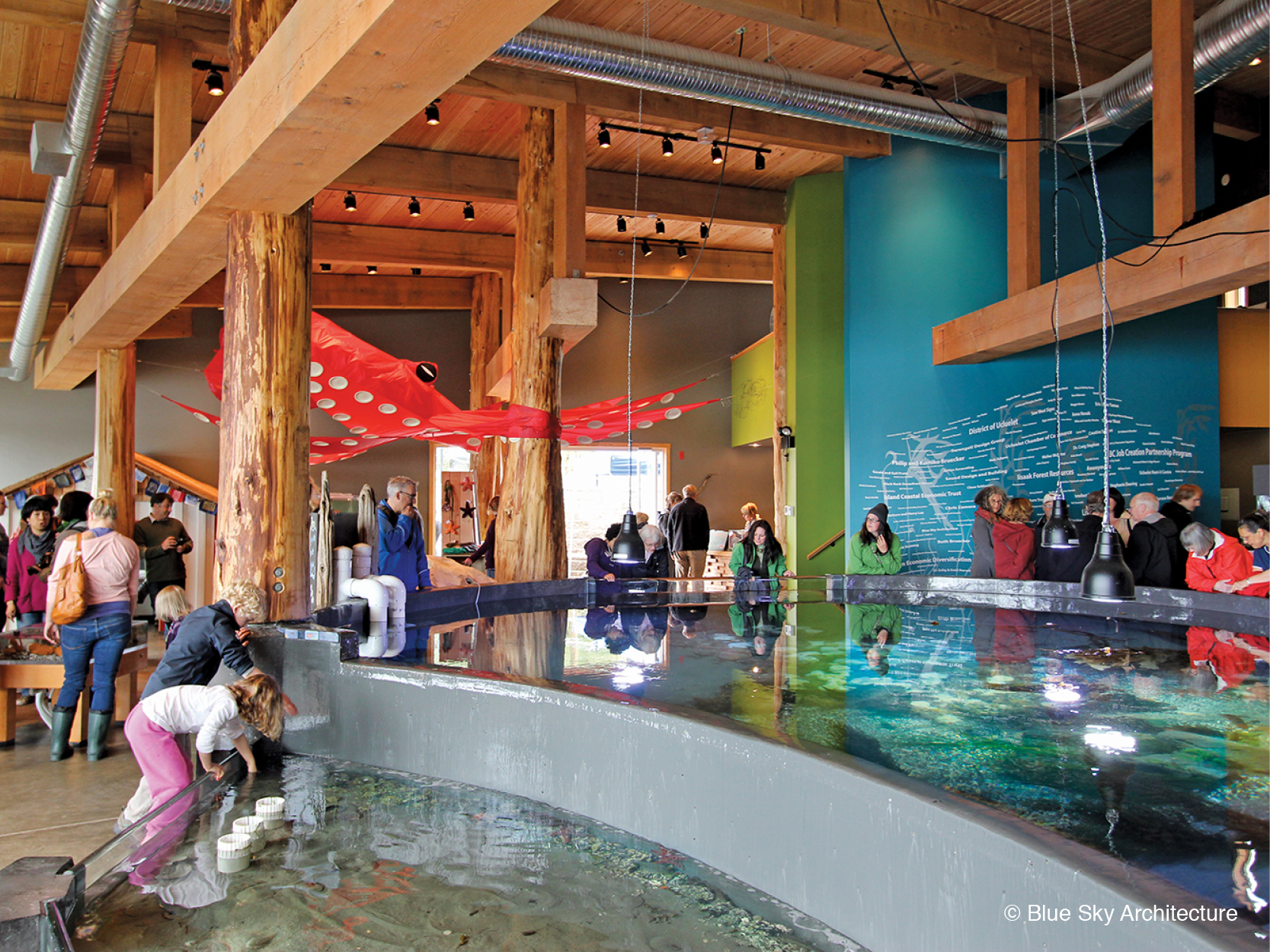 Ucluelet Aquarium tidal pool with heavy timber beams