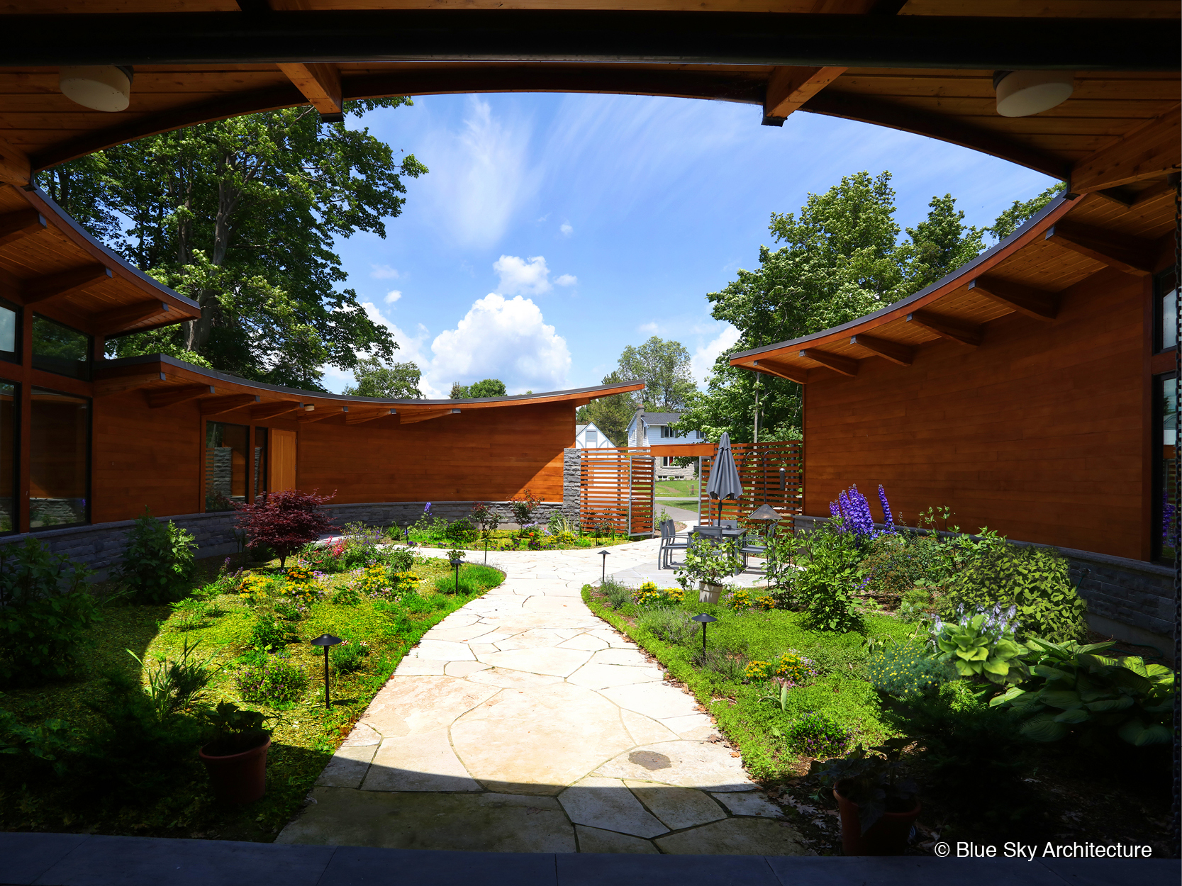 organic landscape design in a custom lake shore home