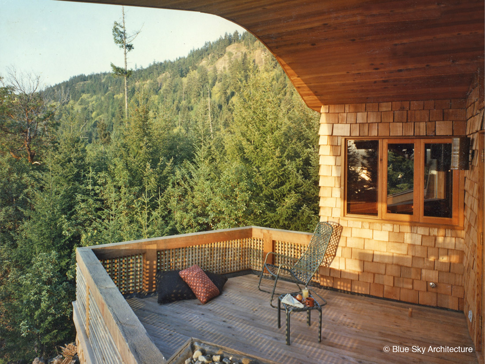Upper Terrace of custom home with Island Views