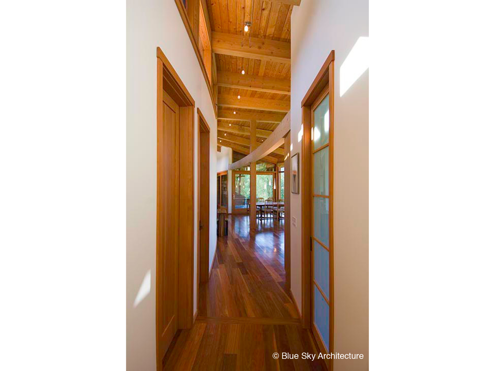 modern hallway wood white