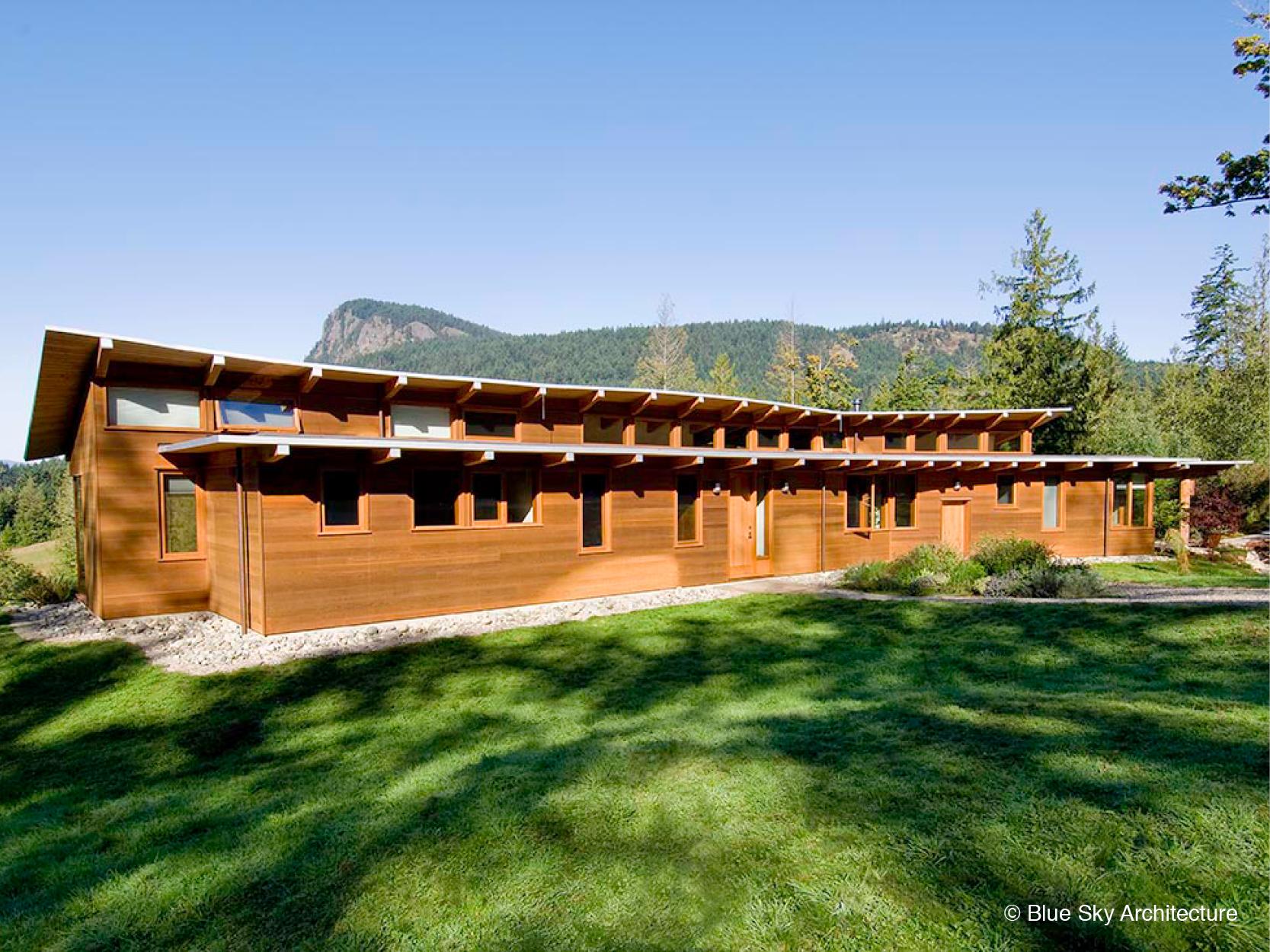 Red cedar horizontal modern architecture