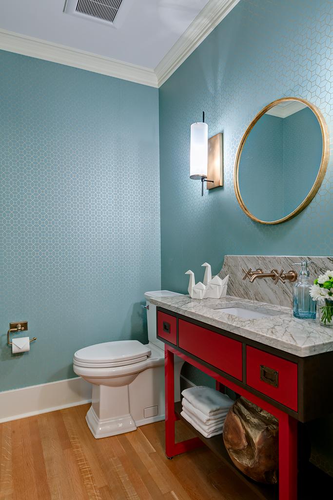 Dramatic Powder Room Remodel   Marlo Creative Interiors   Calgary Interior Designer