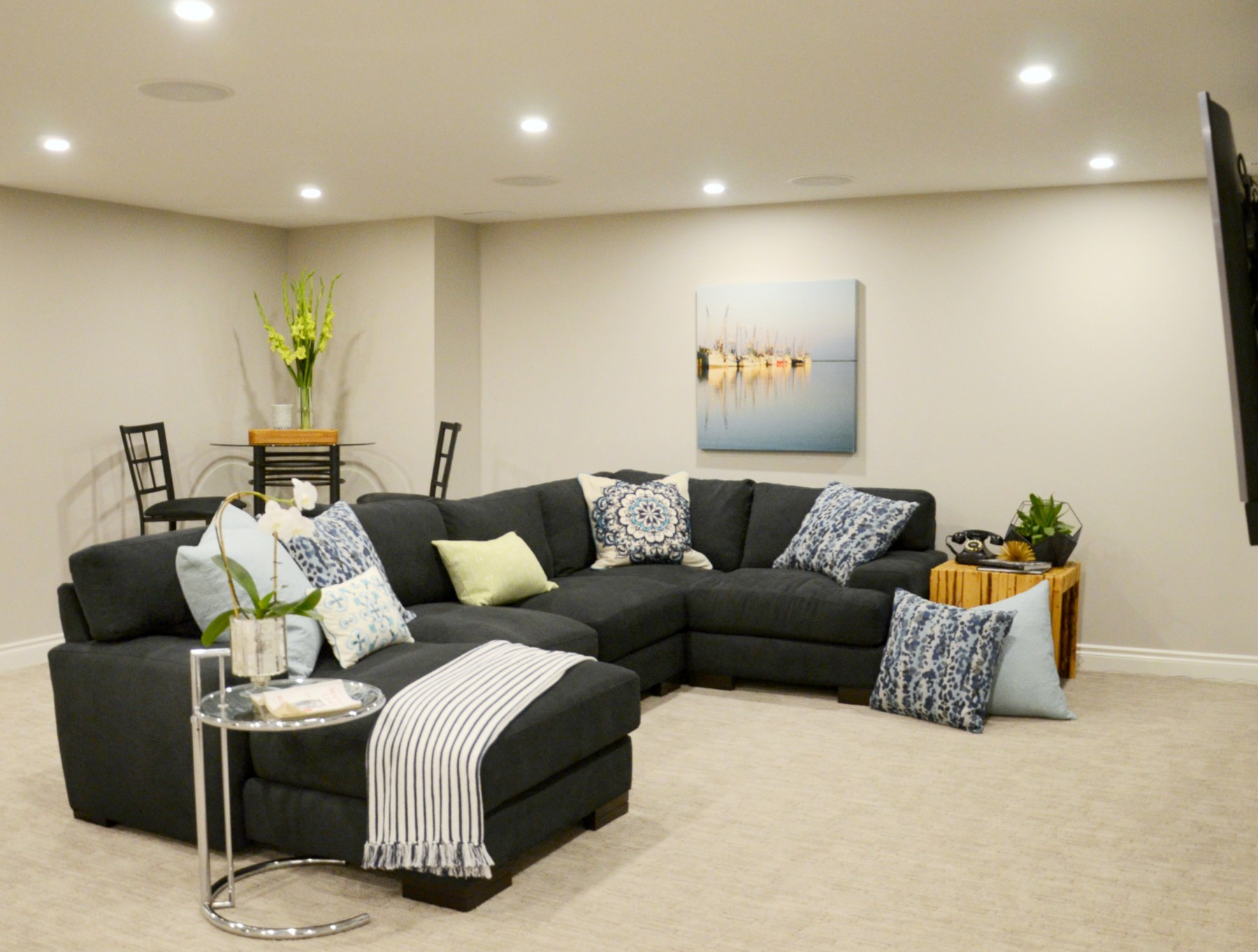 Family Friendly Basement | Marlo Creative Interiors | Calgary Interior Designer