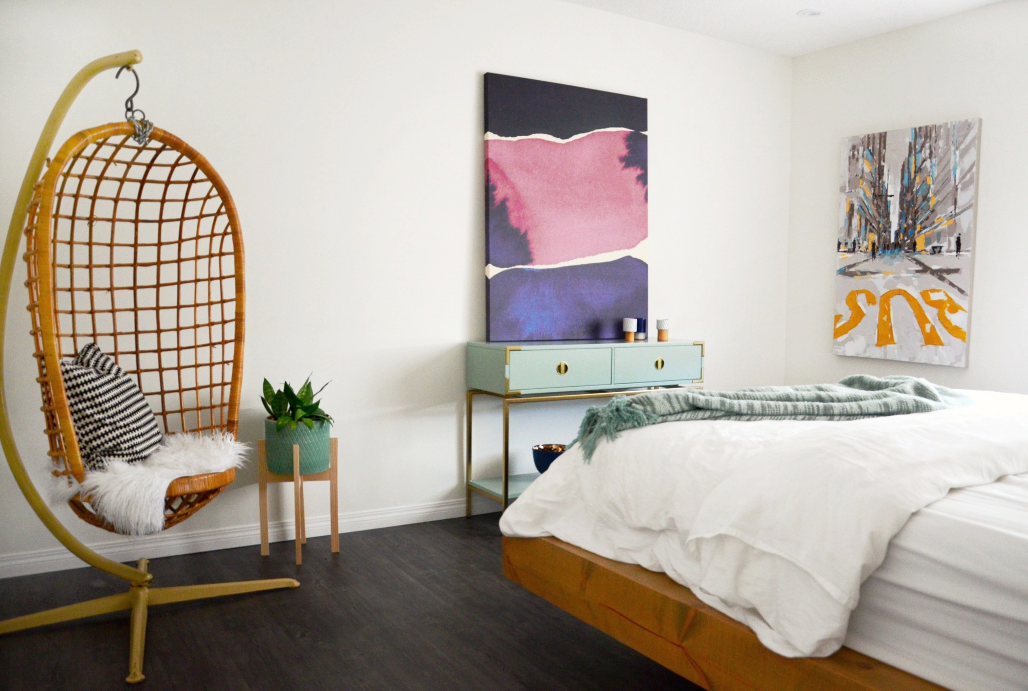 Colourful Master Bedroom and Ensuite | Marlo Creative interiors | Calgary Interior Designer