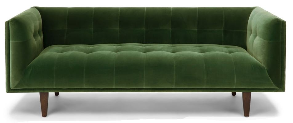 Green velvet sofa.   source