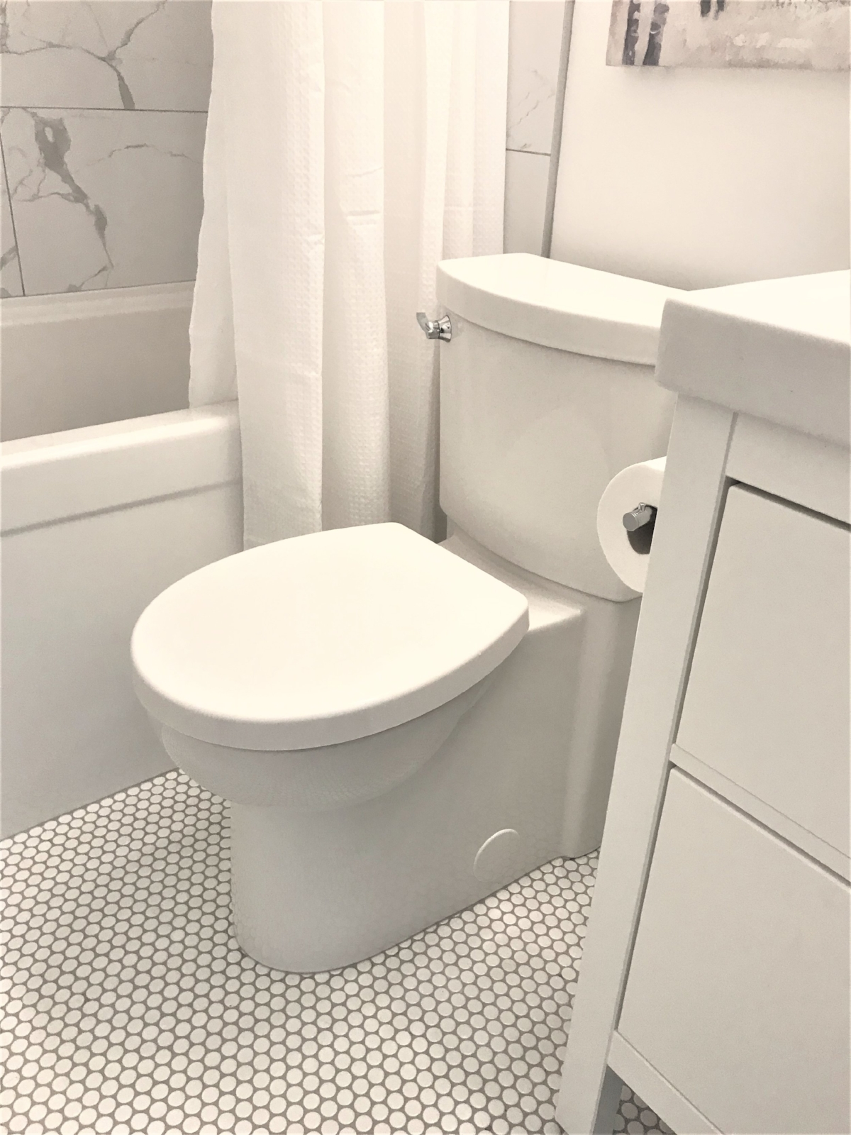 Calgary Interior Designer - Bathroom renovation - how to make a small bathroom appear larger