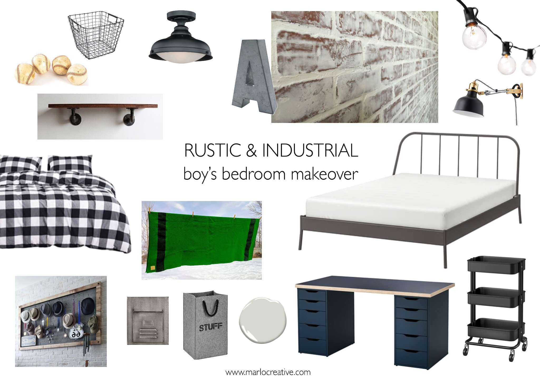 Calgary Interior Designer - Industrial Boys Bedroom Makeover