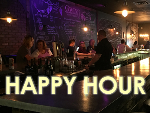 Daily special!   At GWIN, we like to see you happy!Join us for happy hour from 3PM to 7PM daily! Enjoy $2 off all glasses of wine and $1 off of the beer of your choice!