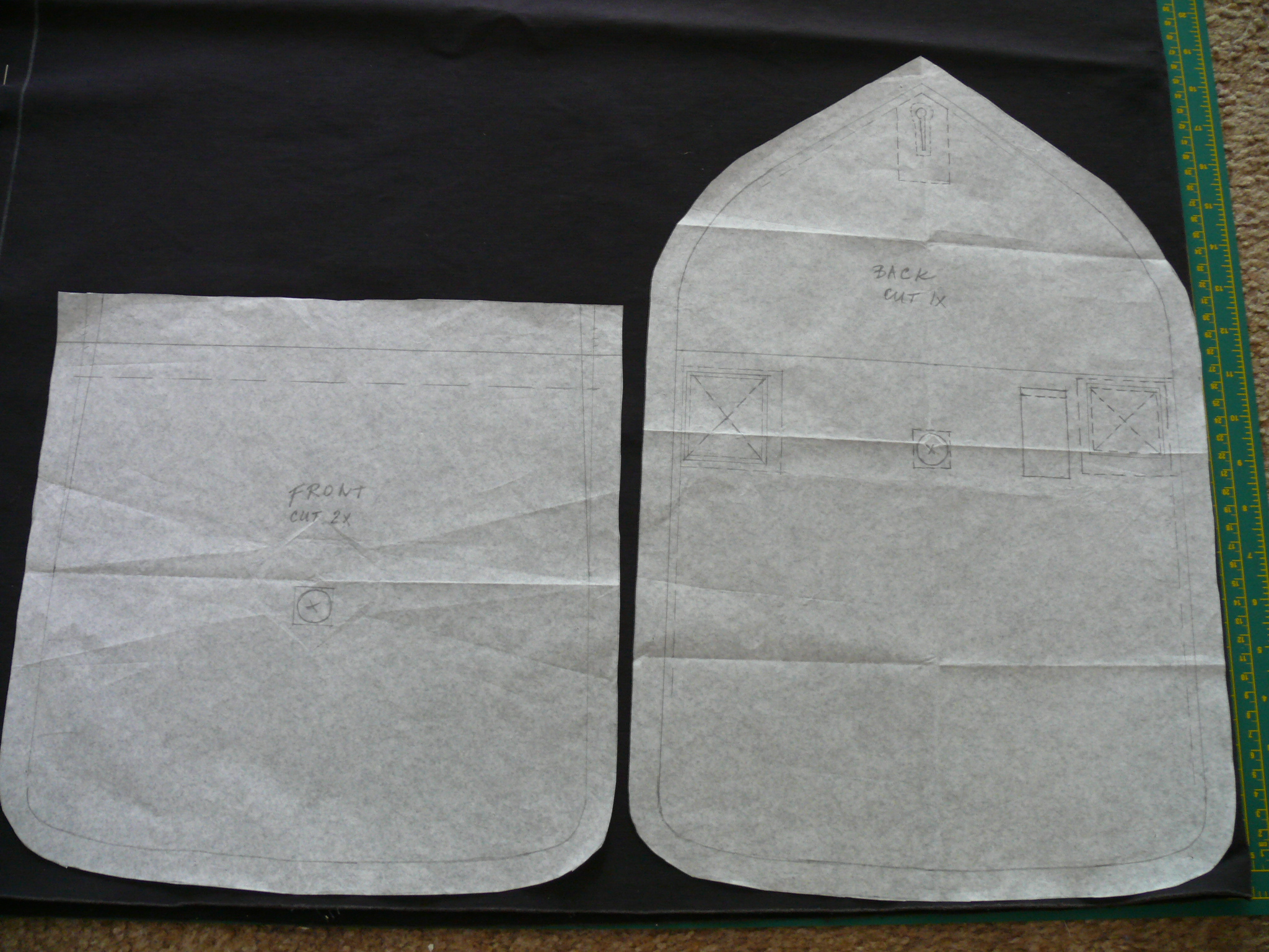 You need two of the smaller front pieces, and one of the back piece which has a foldover extension.