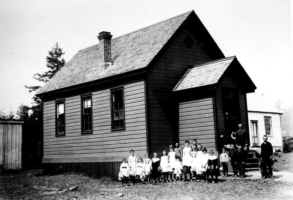 West Road School, Saanich. Photo dated to the early 1900s and courtesy of  BC Archives .