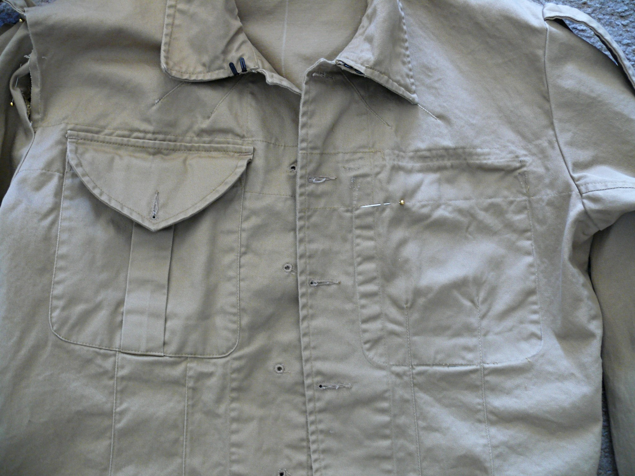 In this photo, the pin marks the top edge of the new pocket position.