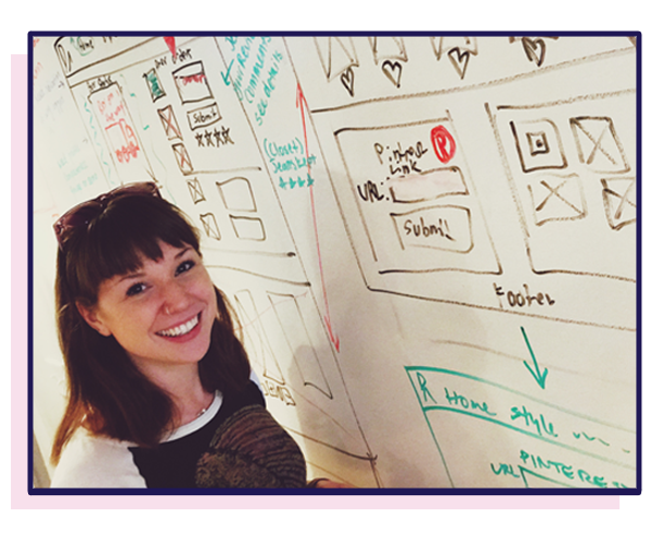 Here's an obligatory picture of me, in my element,trying to work out some kinks at the whiteboard. (Look how happy and nerdy I am.)