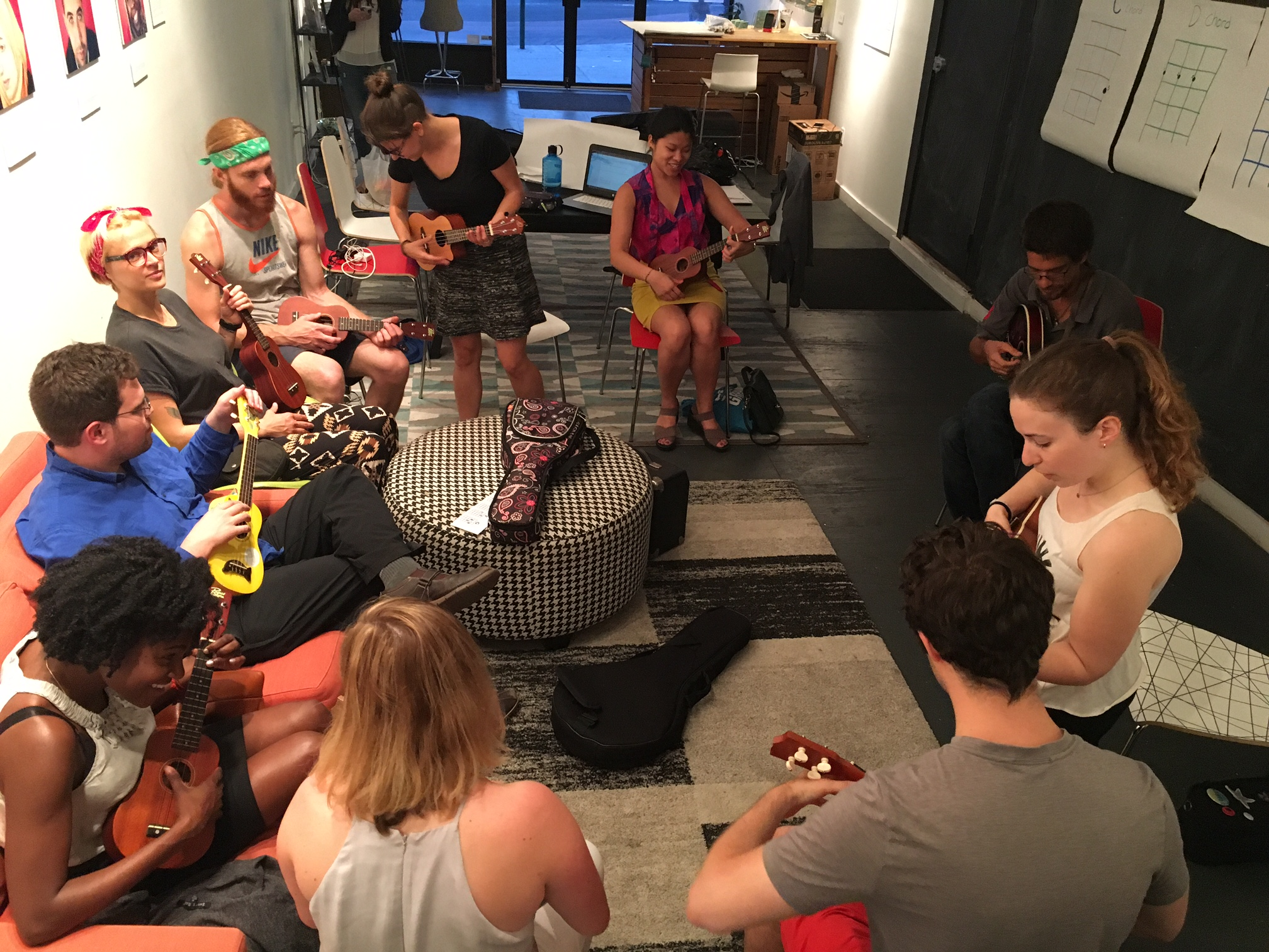A typical meeting of the Crown Heights Ukulele Club at 808 Nostrand Ave.