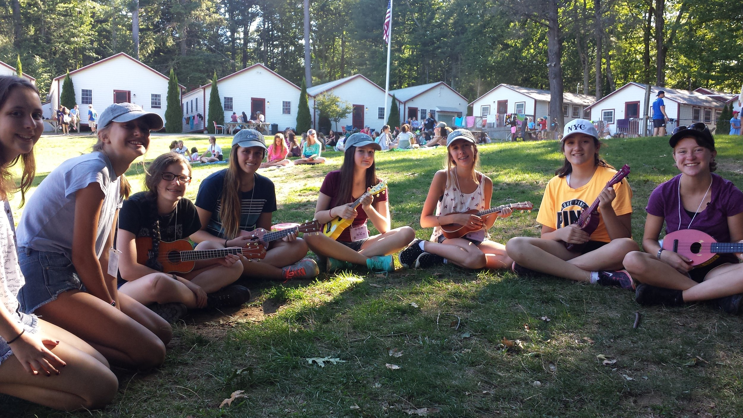 A few of the campers and all of the ukuleles!