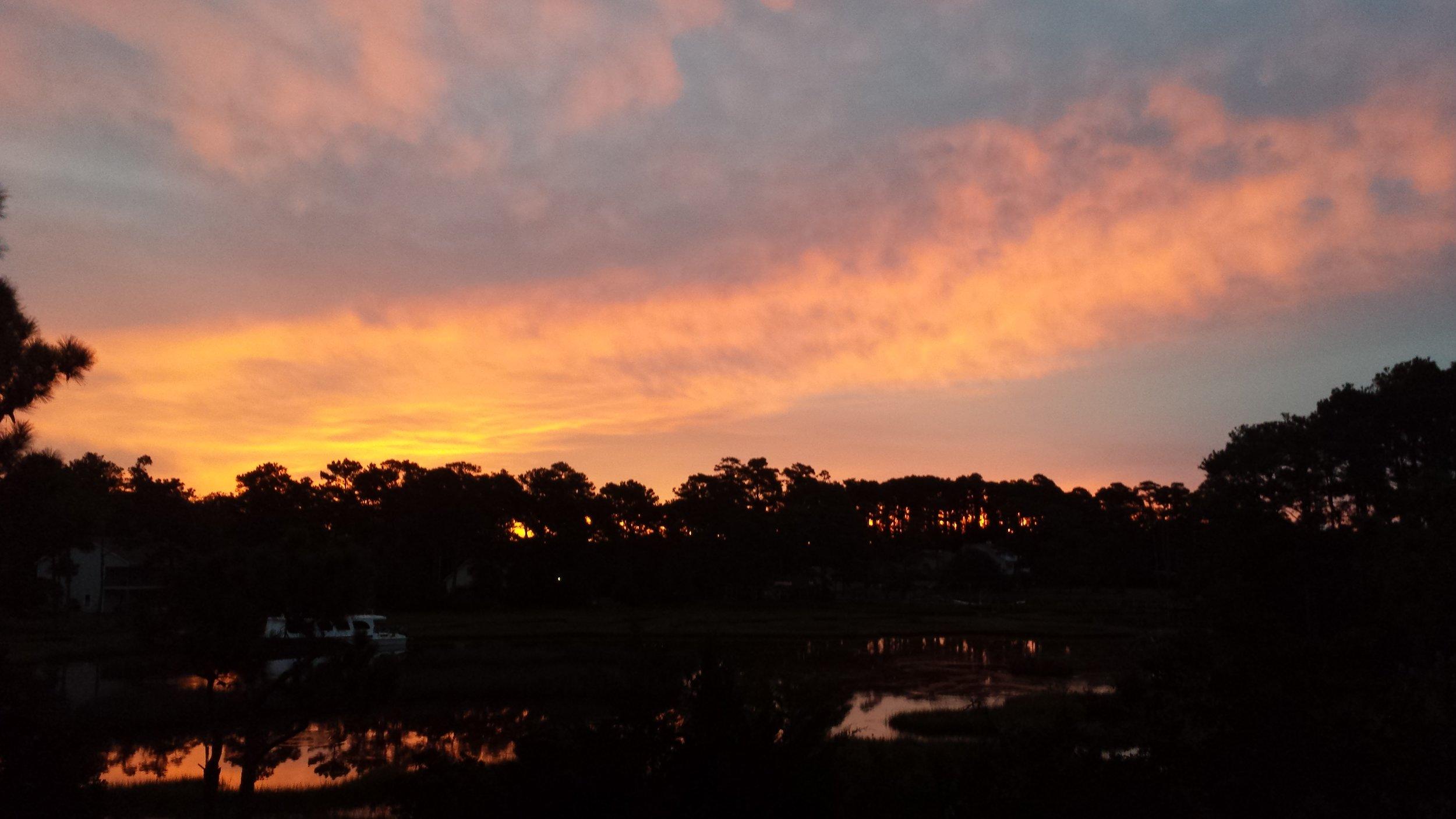 Sunrise view over the marsh in Gloucester