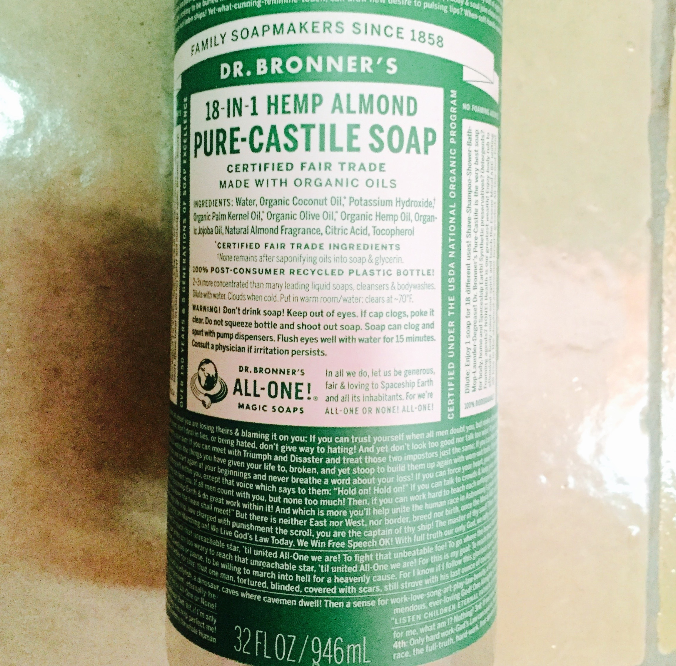 4. Castile soap - Works for all cleaning, body, laundry, dishes and more and doesn't harm the environment at all.