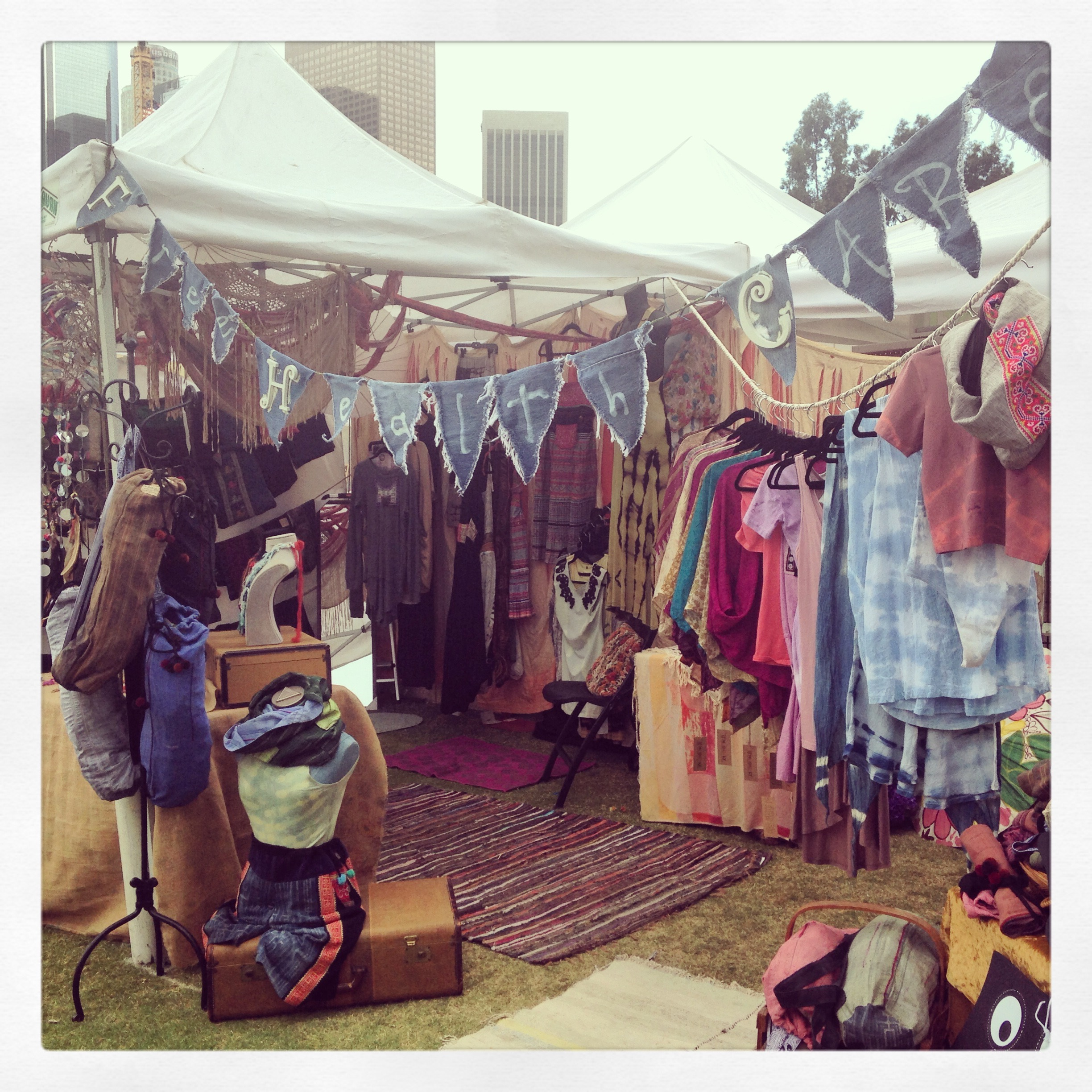 My line of clothing and textiles bought around the world. Occasionally, I work art festivals.