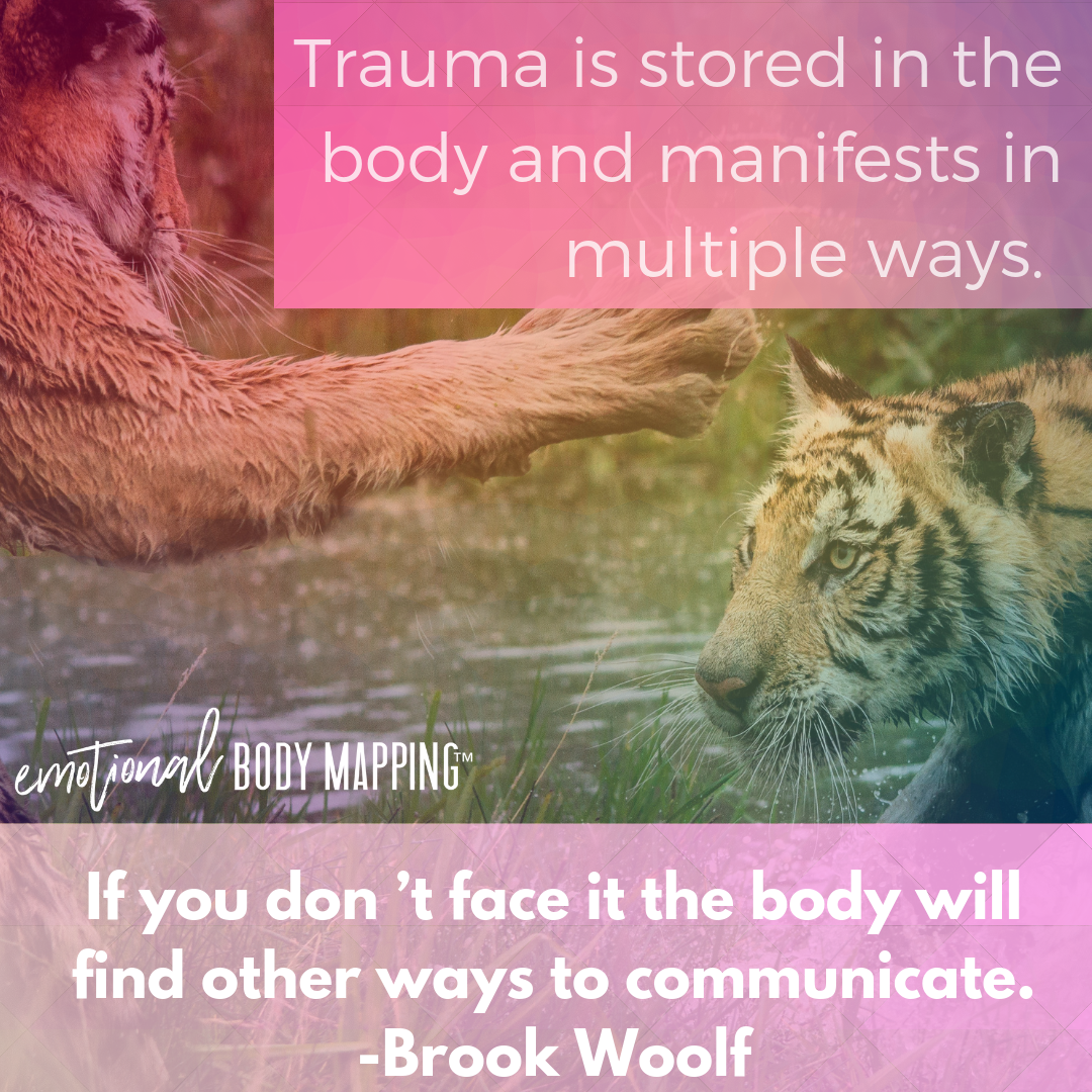 Trauma is stored in the body and manifests in multiple ways. If you don't face it the body will find other ways to communicate. - Brook Woolf