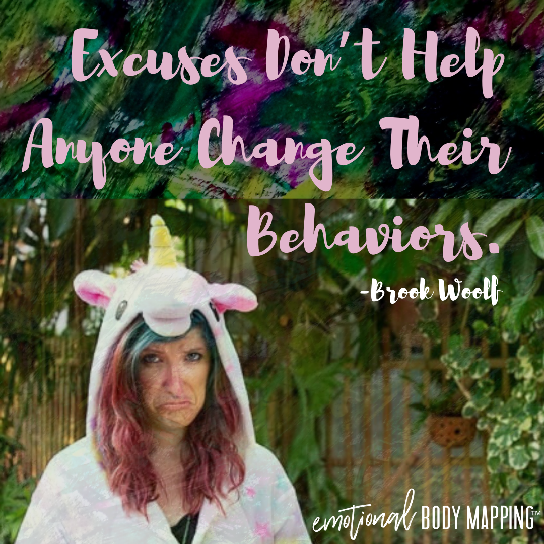 Excuses don't help anyone change their behavior. - Brook Woolf