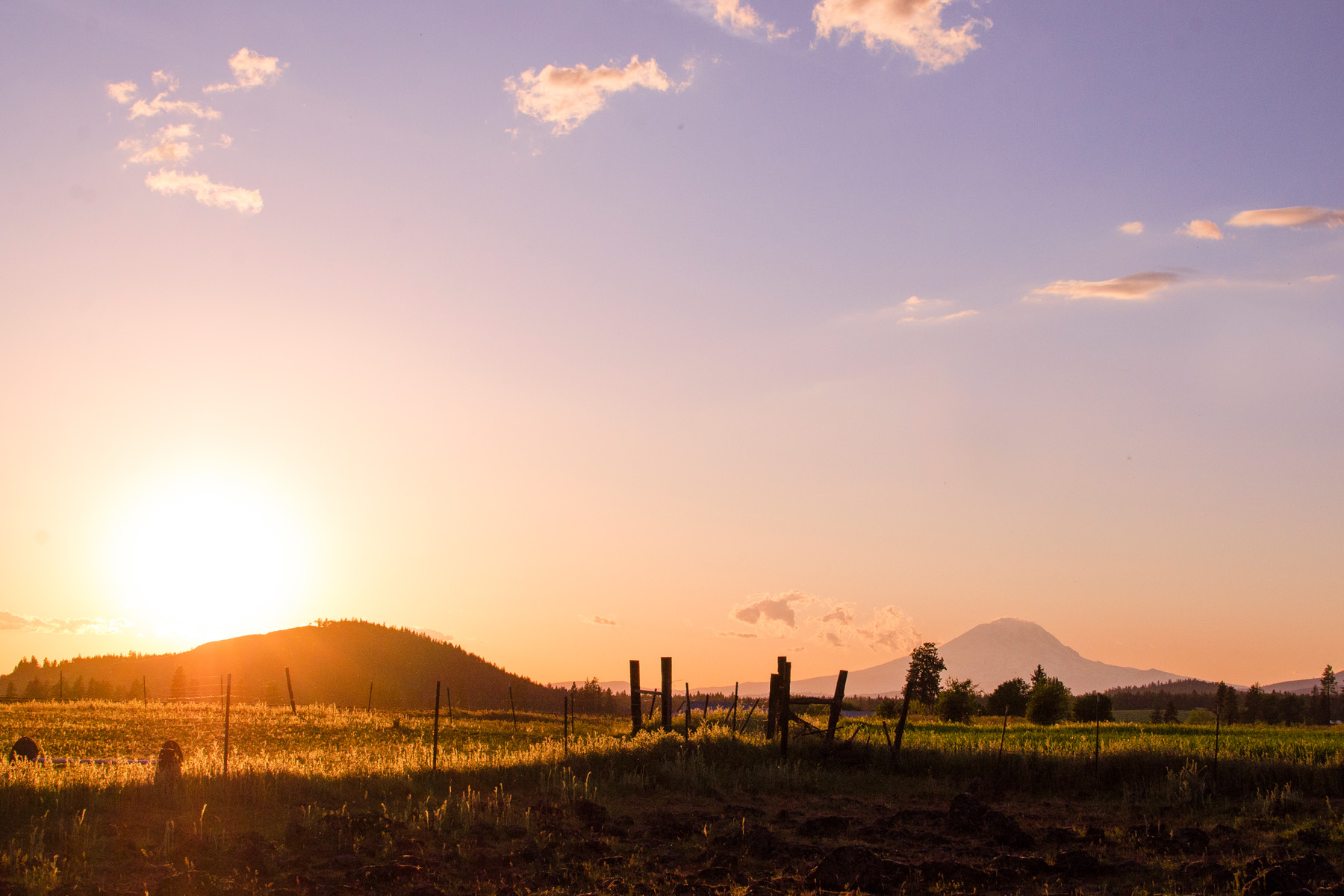 Sunset over Mt. Adams and Blockhouse Butte.