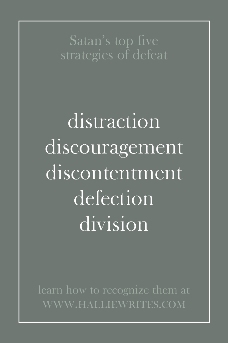 Satan works hard to attack the lives and ministries of faith-filled believers. Here's how you can recognize five of his favorite strategies (distraction, discouragement, discontentment, defection, and division) using examples from the Bible.