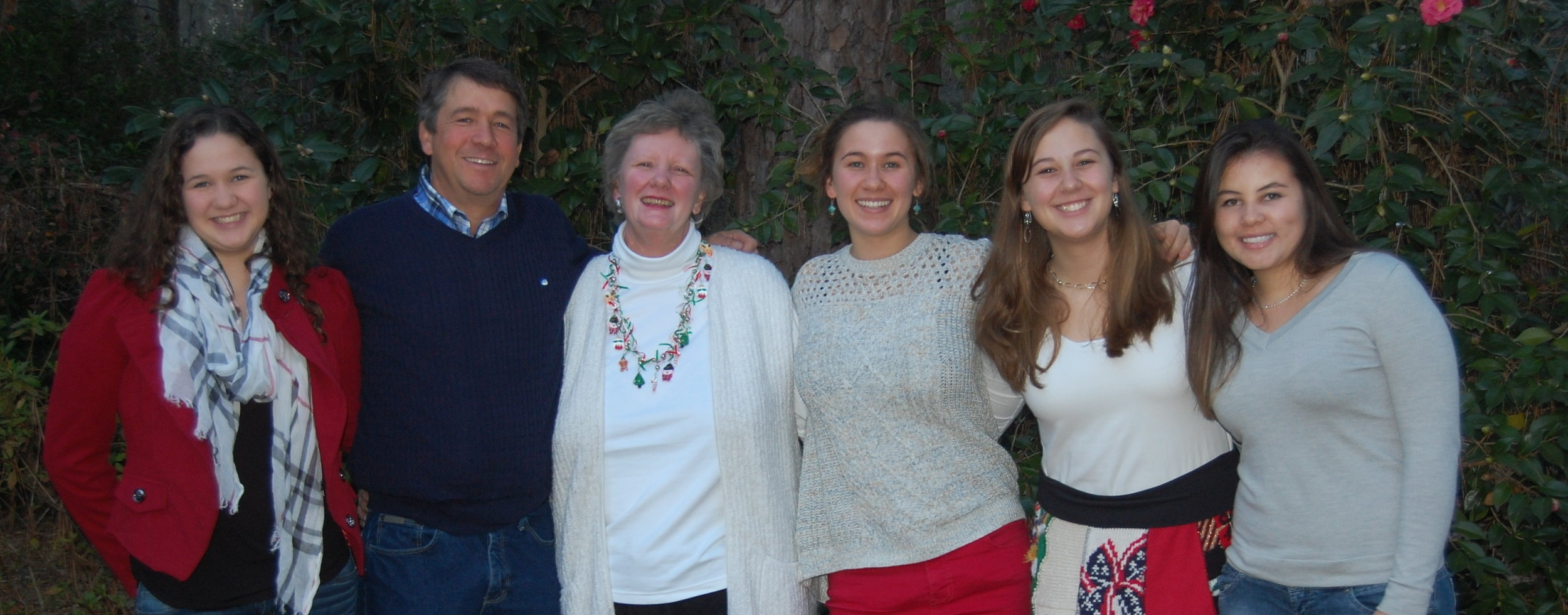 From left to right: Sonora, David, Pattie, Lillian, Louise White & Nanda (an exchange student who stayed with the Whites)