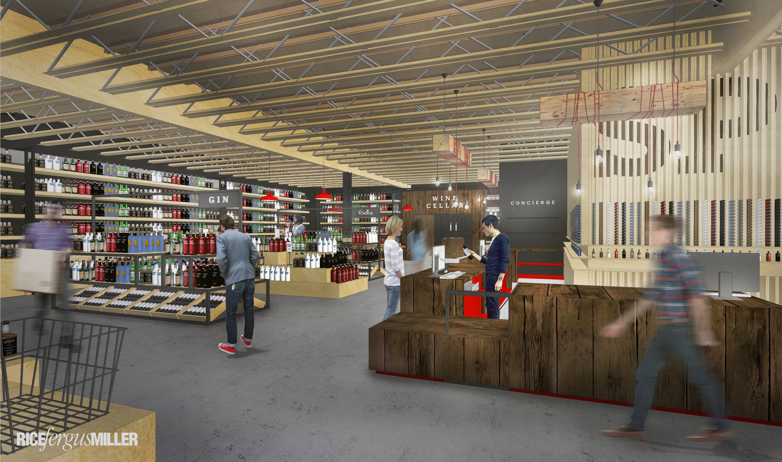 Conceptual rendering of High Spirits, a liquor store in the new Work. Eat. Drink. building on 8th Avenue in Poulsbo. Construction is now underway. High Spirits and ChocMo will move to the site from 7th Avenue. Other tenants—all family businesses—include Vibe Coworks and Crabtree Kitchen + Bar.