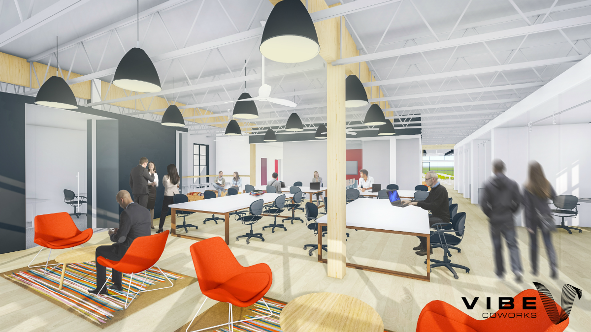 Due for completion in early 2018, the flagship Vibe Coworks location in Poulsbo features shared desk space, private offices, meeting rooms, phone booths, a covered deck and bike storage.