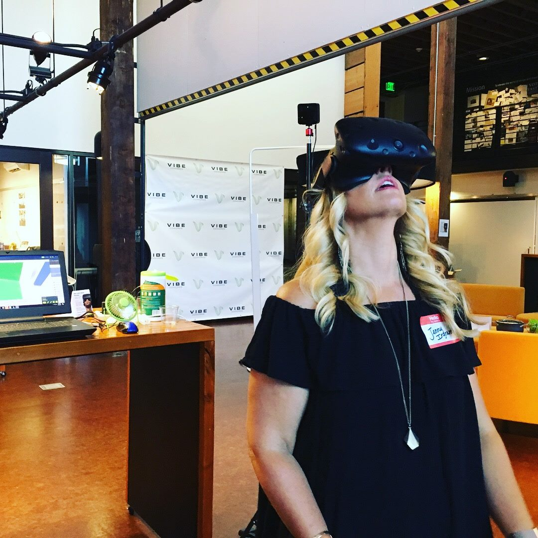 Jenny was one of the lucky few who had the opportunity to experience Vibe first via virtual reality at a VR Happy Hour event held at Rice Fergus Miller in July 2017..