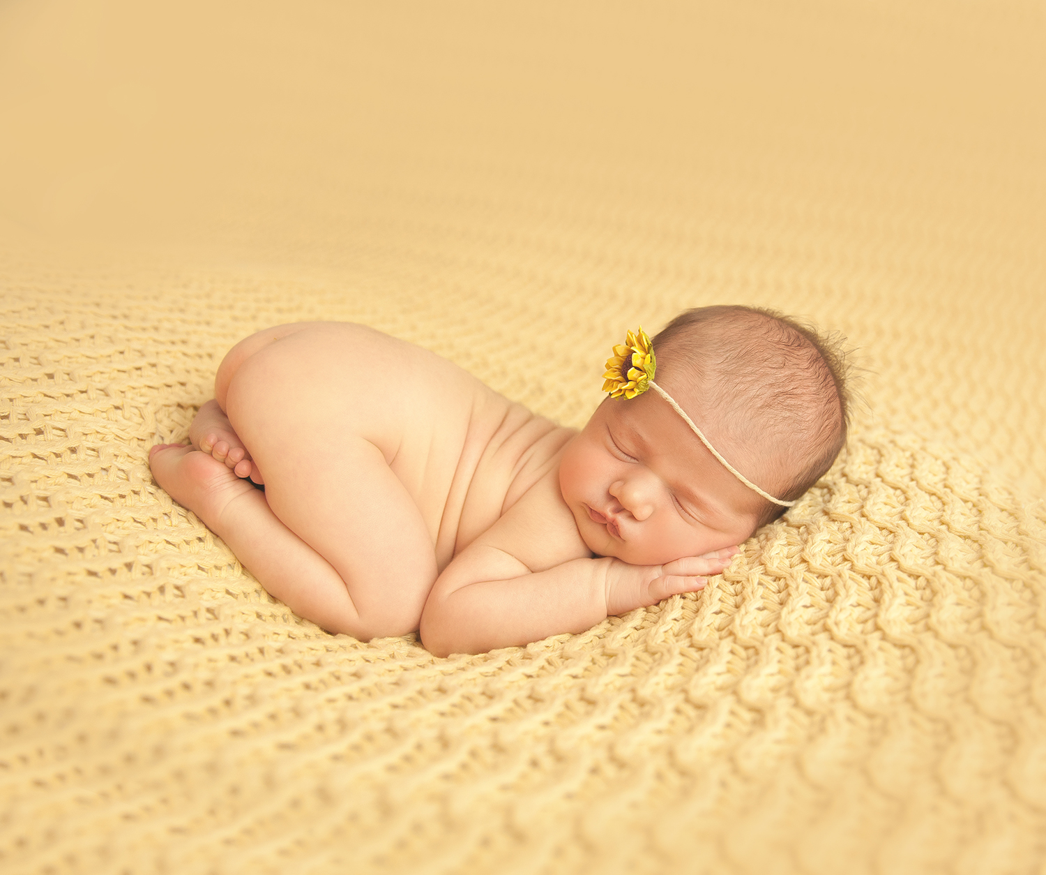sunflower perfect on newborn baby girl on yellow at newborn studio in Dallas texas