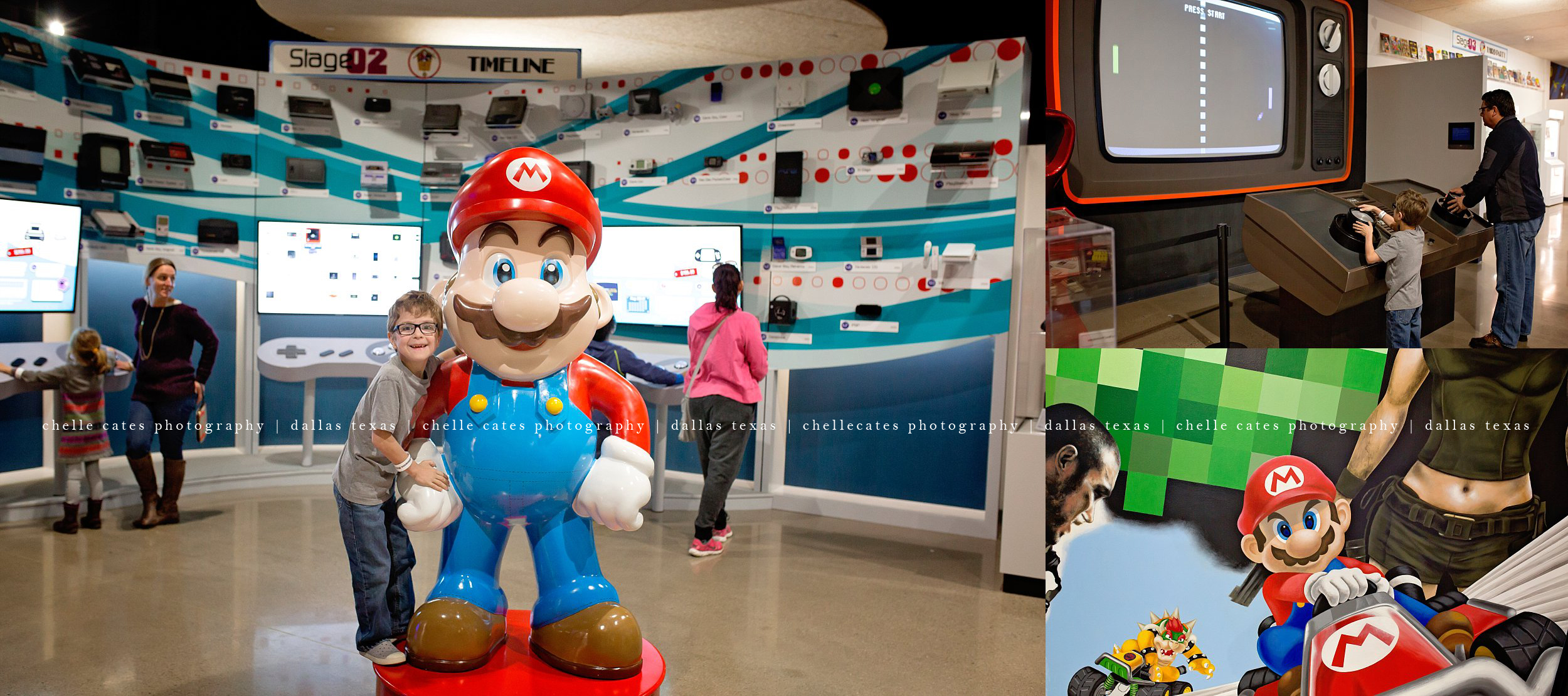 young boy posing with lifesize Mario figure at the National Videogame Museum in Frisco Texas
