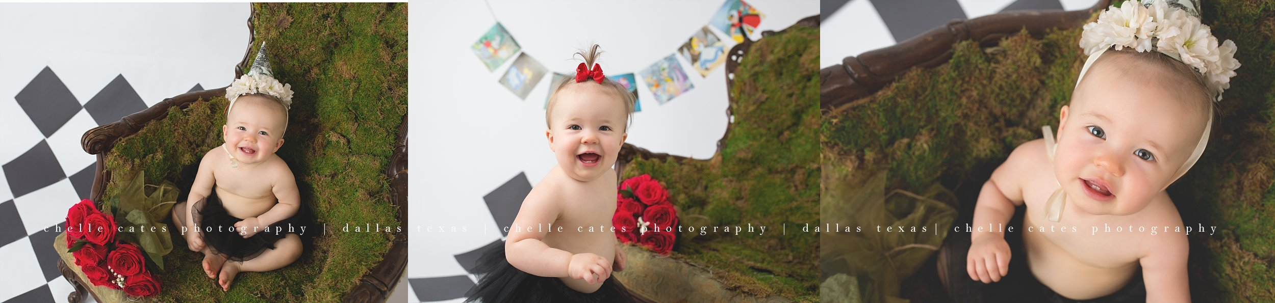 Dallas Children's photographer, First Birthday, cake smash, alice in wonderland theme, baby girl turns one year old, green moss chair, black and white checked floor with simple banner