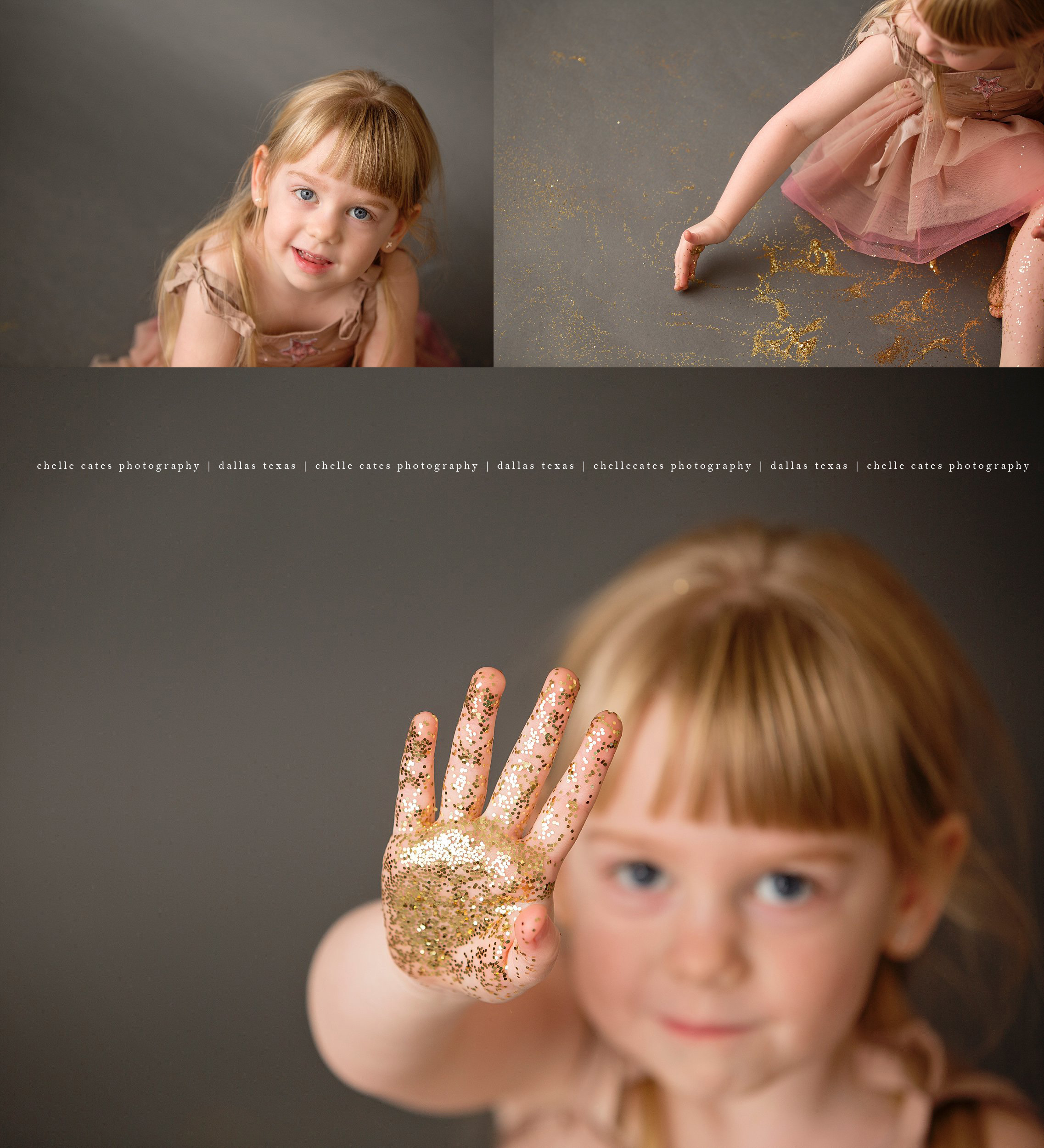 3 image collage of 4 year old little girl playing in gold glitter. Dressed in pink tutu du monde dress with her blonde hair braided on each side of her face. Photographed on Savage Thunder Gray seamless paper, her blue eyes were super bright. Photos taken at the studio of Chelle Cates Photography in Dallas Texas.
