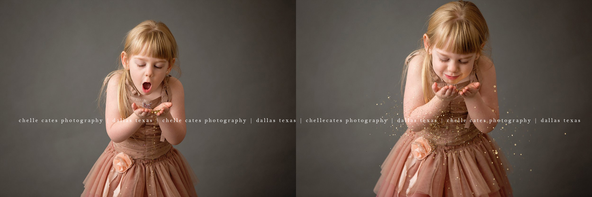 Wearing a pink tutu du monde dress, 4 year old blonde girl with hand full of glitter blows to make glitter go everywhere! Photographed on Savage Thunder Gray seamless paper at Chelle Cates Photography Studio in Dallas Texas.