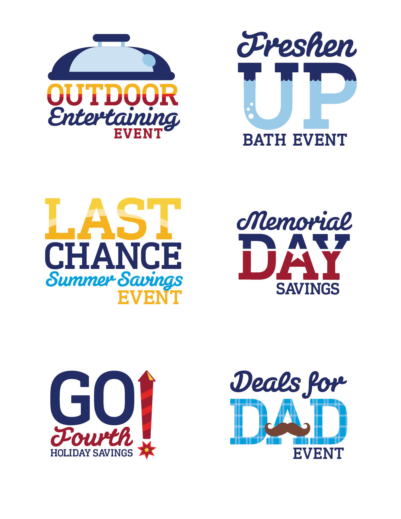 A series of retail event icons designed to bring a fresh, whimsical energy to each holiday.   Logo Design