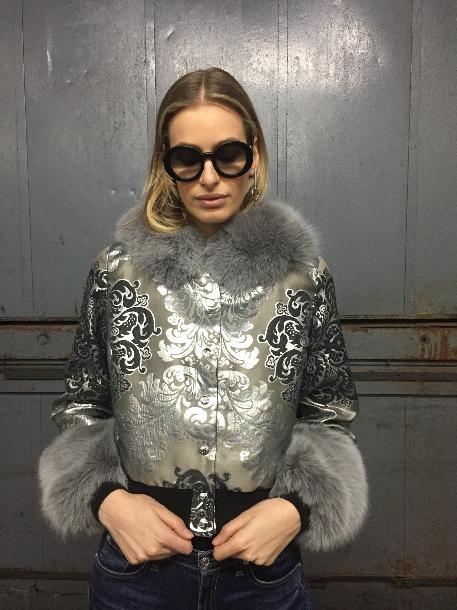 Removable Fur Cuff & Collar Set in Silver by Therma Kota